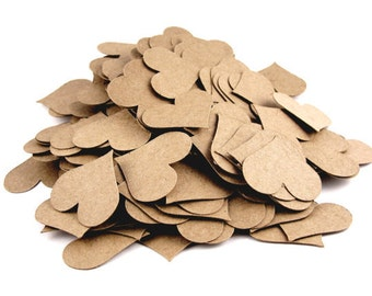 200 Kraft Paper Hearts, Heart Shapes, Die Cut Hearts, Heart Confetti, Scrapbooking Embellishment, Card Making -  1 inch