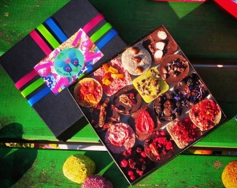 A box of 16 raw vegan chocolates of your choice. Organic & no gluten added