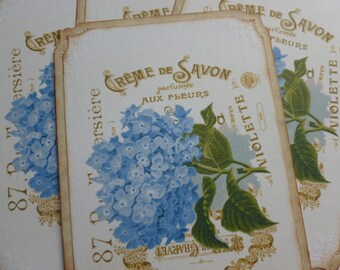 Blue hydrangea postcards with envelopes french themed floral vintage style vintage inspired thank you notes blank - set of 4