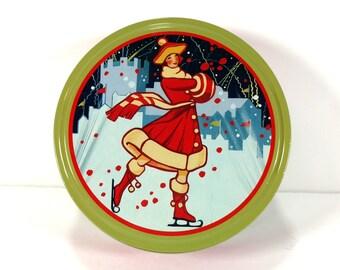 Pretty Vintage Ice Skater - Snowy Winter Scene Tin