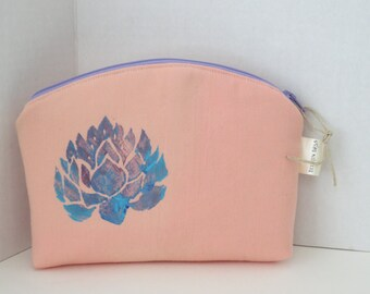 Lotus - Painted Lotus flower - Zip Case - Zippered Pouch - Lotus bag