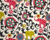 Boho Shower Curtain, Bohemian, Hipster Shower Curtain, Elephant Suzani Shower Curtain, Red Pink Black Bathroom Decor, Medallion