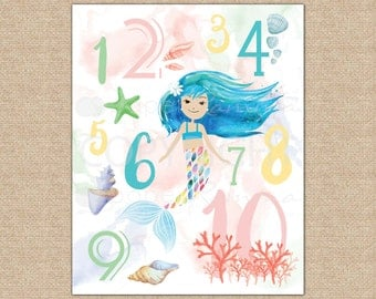 123 Nursery Wall Art, New Baby, Mermaid Nursery, Numbers Print, Baby Girl, Watercolor, Mermaid / Art Print or Canvas / N-XM10-1PS AA1 06S