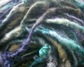 Handspun Soft Curly Textured Super Bulky Border Leicester Wool Art Yarn in Turquoise Green and Smoky Blue by KnoxFarmFiber for Knit Weave
