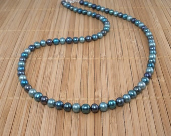 Long Teal Pearl Necklace Teal Aqua Pearls Long Necklace Freshwater Pearls 22 inch Pearl Necklace Long Teal Necklace Bridal Teal Pearls