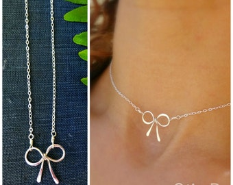 minimal choker necklace, layering necklace, dainty bow necklace, sterling silver, bridesmaid gift, tie the knot, otis b, delicate jewelry