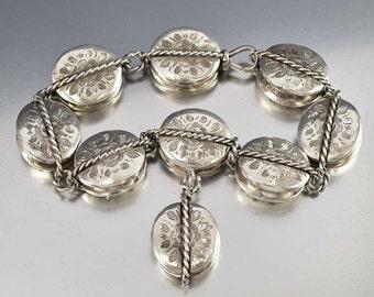 Victorian Bracelet, Sterling Silver Charm Bracelet, Engraved Bracelet, Silver Link Bracelet, Antique Jewelry Braided Bracelet, Unique