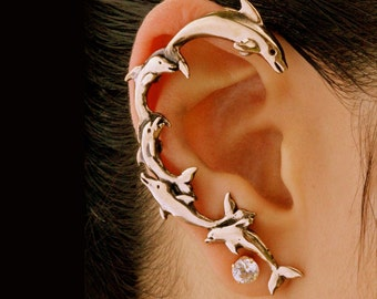 Dolphin Ear Wrap Bronze - Dolphin Earring Dolphin Jewelry - Ocean Jewelry - Non Pierced Earring Non Pierced Ear Cuff