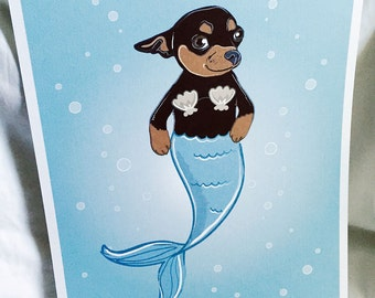 Mermaid Chihuahua - Eco-Friendly 8x10 Print