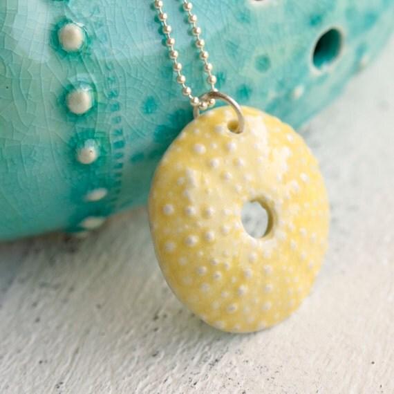 marigold urchin pendant, porcelain