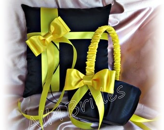 Yellow and Black Wedding Pillow and Basket - Flower Girl Basket and Ring Bearer Pillow Set