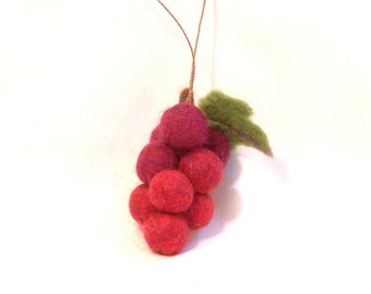 Felt Christmas Miniature Fruit Ornament Needle Felted Bunch of Red Grapes