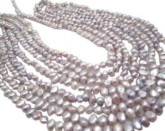 Freshwater Pearl Beads,  Ivory and Lavender Pearls, Potato Shape, SKU 4671