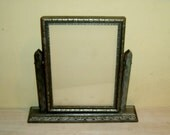 Antique Picture Frame Swinging Easel Stand Silver Carved Wood Art Deco Wooden Glass