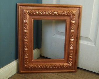 Carved Wooden Picture Frame Old Vintage Mid Century 8 X 10 Copper Gold