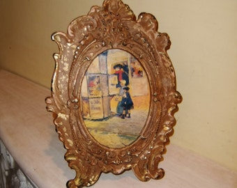 Antique Victorian Picture Frame Cottage Chic Cast Iron Shabby Chippy Paint Oval