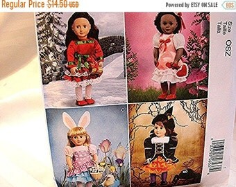 Sewing Pattern SALE 18 inch Doll Clothes Pattern UNCUT Holiday Dresses fits 18 inch dolls