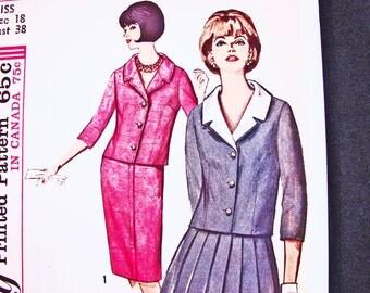 1960s Dress Pattern UNCUT Misses size 18 Bust 38 Womens Suit Pattern Jacket, Detachable Collar, Pleated Skirt Vintage Sewing Pattern 60s