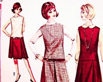 1960s Dress Pattern size 18 Bust 38 UNCUT Womens Drop Waist Jumper Dress Pattern Sleeveless Dress Vintage Sewing Pattern