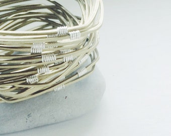 Geometric Bangle with Silver Detail