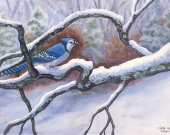 Blue Jay Snow Watercolor Painting Print by Cathy Hillegas, 11x14, watercolor print, watercolor bird painting, watercolor winter landscape
