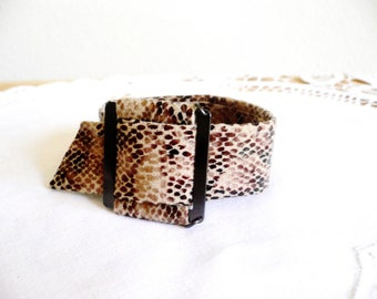 Square and Snake...Cuff Bracelet...Fabric and Metal...Bohemian Style