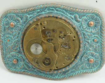 Steam Punk watch movement Green Patina Buckle , sold by each