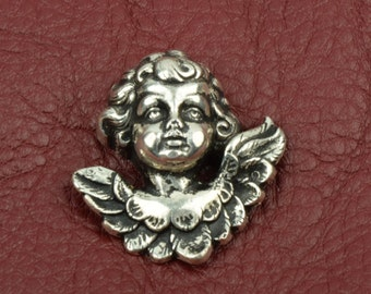 40mm Cherub Flatback, Antique Silver, 2 each 09560