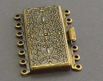 Box Clasp 7 Strand in Vintage Look Brass Finish 36mm x 26mm (1)
