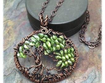Tree of Life Wire Wrapped Necklace Peridot Green Keshi Pearl gemstone
