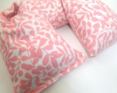 Microwave Neck Wrap - Flax Seed Heating Pad or Cold Pack - Organic Cotton Flannel - Pink Christmas Gift