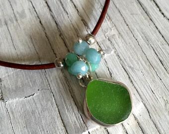 Leather Necklace Aqua Sea Glass Pendant with Gemstone Bohemian Inspired