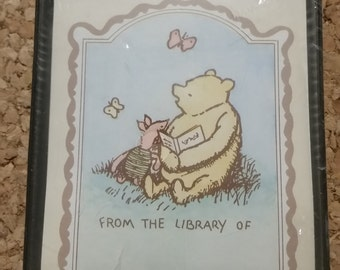 30 NIB Classic Winnie-the-Pooh bookplates, vintage bookplate, 3x4, Pooh and Piglet, Walt Disney Company