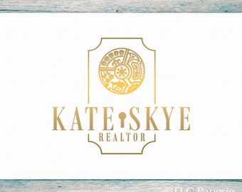 Realtor Logo, Custom Logo,  Real Estate Logo, Realty Logo,  Premade Logo, Office Logo,  Interior Designer Logo, House Logo, Gold Logo