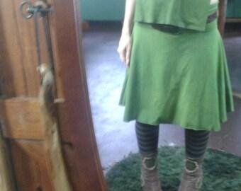 Hand dyed Leafy Green Hemp/organic cotton morning glory skirt