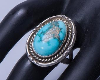 Navajo Natural Turquoise Ring - 70s Pawn - Aqua Blue Color - sz. 7
