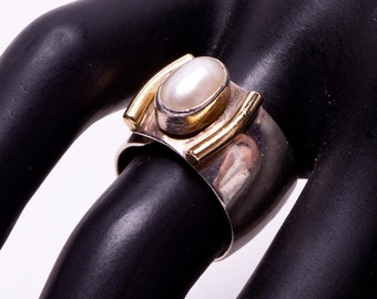 Lilly Barrack Ring - Pearl Sterling 14k  -  Wide Band - sz. 5 Adjustable