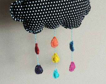 Rain cloud with rainbow drops- felt hanging decoration for nursery, playroom, photo prop