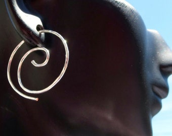 Free Shipping Item. Small Hoop Earrings. MINI. Swirls. Hammered surface .18 gauge Silver Filled wire