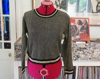 vintage 70s lurex ringer crop sweater gold black 1970s