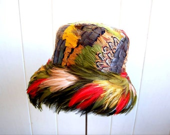 1960s Colorful All Feather Hat