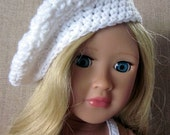 18in doll hat beret hand crochet white, doll clothes
