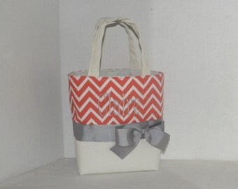 Ivory / coral  Chevron  Monogrammed/Personalized Tote, Purse, Bridesmaid Gift, Flower Girl, MOB, MOG,Cheer Squad, Brownie