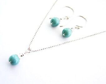 SALE, Swarovski Jade Pearl Necklace & Earrings Set, Mint Green Necklace Set, Italian Sterling Silver Chain, Bali Sterling Silver Earrings