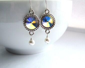 Swarovski Crystal AB Rivoli Earrings, Rivoli Crystal Earrings, Sterling Silver Earrings, Handmade Jewelry Gift For Her