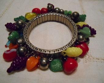 Vintage 1960s Spandex Bracelet with Fruit Dangles