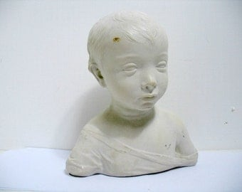 Vintage Sculpture Bust of Child National Gallery of Art Wash. D.C. Hollywood Regency Statue Sculpture
