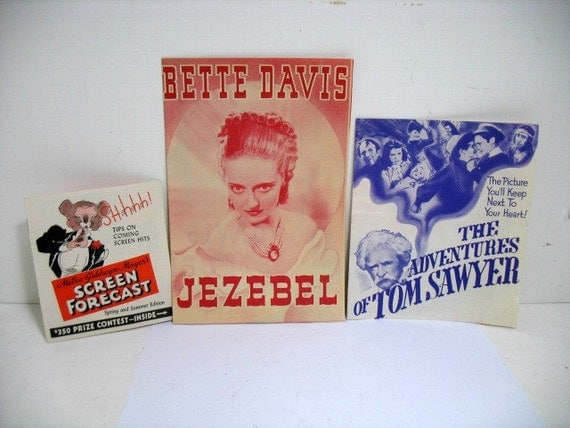Lot of 3 Movie Herald Handbills, 30s 40s Bette Davis Jezebel Tom Sawyer Kelly, Screen Forecast 1930s Movie Leaflets Program