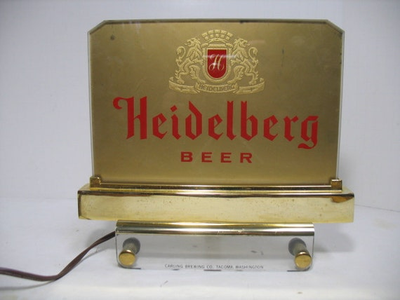 Vintage Heidelberg Sign, Beer Cash Register Topper Top, 1950s Advertising Light up