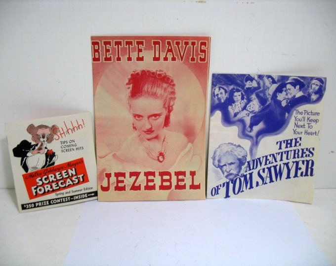 Lot of 3 Movie Herald Handbills, 30s 40s Bette Davis Jezebel Tom Sawyer Kelly, Screen Forecast 1930s Movie Leaflets Program